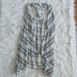 Gray and white striped top